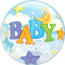 "Baby Boy Moon Bubble Balloon (22"") 1pc"